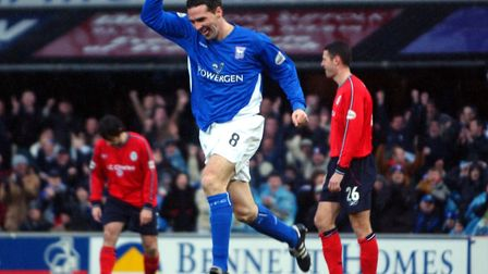Tommy Miller celebrates scoring his one of his two goals on this day as the Blues beat Crewe 6-4 at