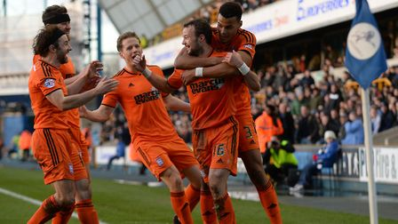 Noel Hunt celebrates his second goal as the Blues won 3-1 at Millwall in 2015
