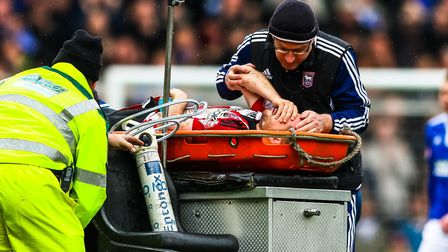 Alan Judge receives attention following his double leg break at Portman Road in April 2016. Photo: S