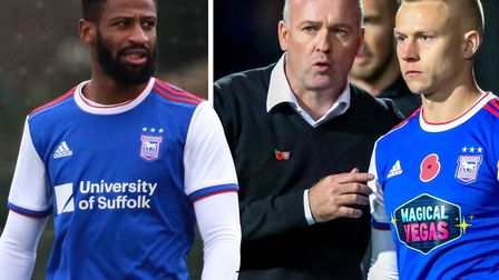 Janoi Donacien and Danny Rowe are set for loan moves away from Portman Road. Picture: ROSS HALLS/STE