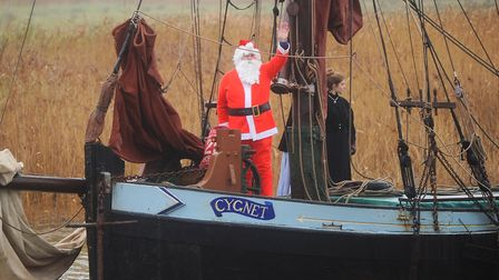 Father Christmas to arrive by an historic Thames sailing barge at Snape Maltings Photo: Gregg Brown
