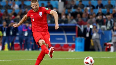 England's Eric Dier scores his sides fourth and winning penalty in the penalty shoot out during the