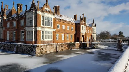 Helmingham Hall in the snow. What will the weather be like for the Woofers Winter Walk? Picture: SUF