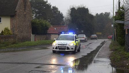 The B1112 was closed on Sunday morning after a fatal road traffic collision Picture: SARAH LUCY BRO