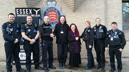 From left to right: PC Liam Brown, PC Steve Woodward, Inspector Gary Chapman, Michael Beckett (Colch