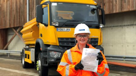 Gemma Allard was making her first run as a gritter driver on Christmas Eve. Picture: SUFFOLK HIGHWAY