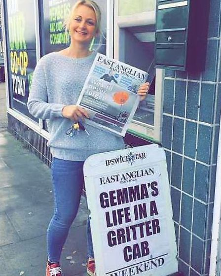 Gemma Allard with a news bill about her training as a gritter driver Picture: SUFFOLK HIGHWAYS