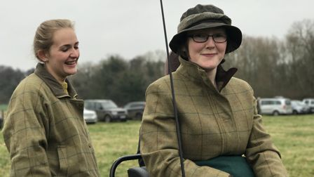 Margarent Collins and little sister Liz brought a horse-drawn carriage to follow the hunt with for t