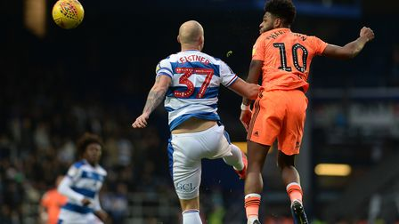 Ellis Harrison with a first half headed effort on goal at QPR Picture Pagepix