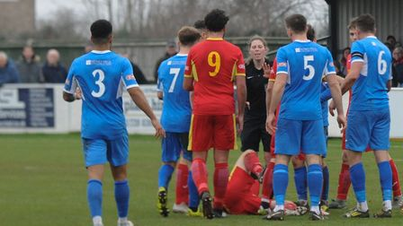 Tempers flare at Victory Road where Leiston beat Needham Market 2-1 Photo: BEN POOLEY