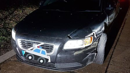 There was damage to the car that police believe was driving the wrong way on the A14 Picture: NSRAPT
