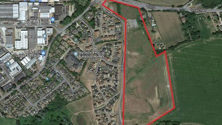 The site in hadleigh where Persimmon plans to build 171 starter homes Picture: GOOGLE MAPS