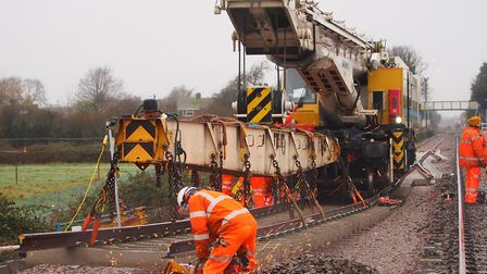 Network Rail engineers spent the Christmas period installing new track on the Felixstowe branch. Pic