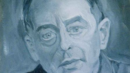 'The blue acrylic painting is a self-portrait... I sketch a bit!' Picture: JOE NEAL