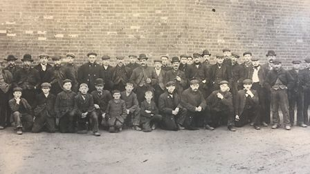 Men outside a Hadleigh factory in 1906. Fred Durrant is within the group. �I had particular sympathy
