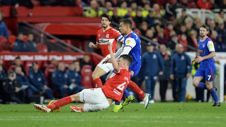 Kayden Jackson is stopped in his tracks by a challenge from Middlesbrough defender Ayala Picture Pag