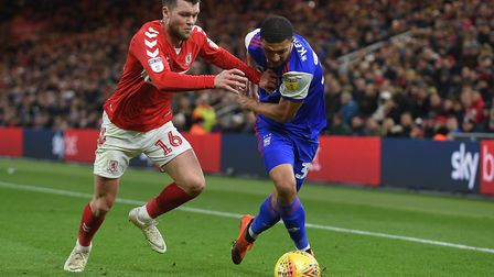Myles Kenlock tries to get past a Middlesbrough defender Picture Pagepix