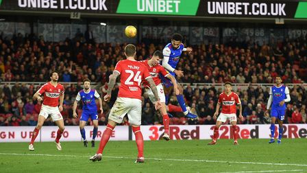 Jordan Roberts heads a second half chance wide of the target at Middlesbrough Picture Pagepix