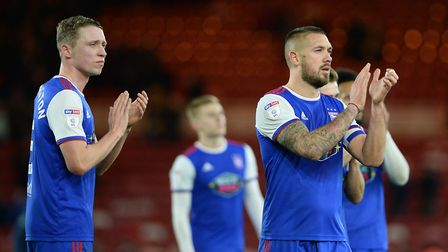 Ipswich Captain Luke Chambers applauds the travelling fans at Middlesbrough Picture Pagepix