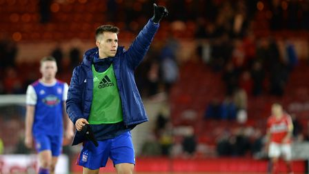 Unused Sub Jonas Knudsen waves to the travelling fans after the defeat at Middlesbrough Picture Page