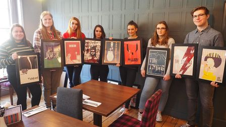 West Suffolk College graphics students with their artwork Picture: ABBEYGATE CINEMA