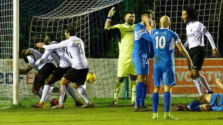 Royston players are in the net as they equalise against Leiston. Picture: PAUL VOLLER