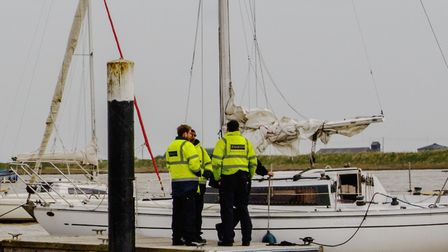 Police and Border Force officials were called to Orford Quay when a yacht was found with illegal imm