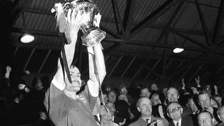 Ipswich Town legend Mick Mills, who turns 70 today, lifts the Texaco Cup after victory over Norwich