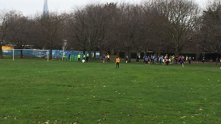 Southwark park, the home of the Southwark parkrun, with The Shard poking up over the trees. Picture: