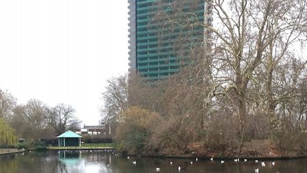 The boating lake, near the start of the Southwark parkrun, in Central South-East London. Picture: CA