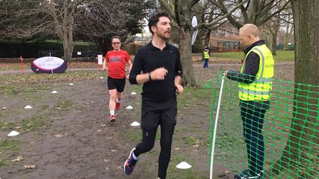 Runners reach the finish of last Saturday's Southwark parkrun. Picture: CARL MARSTON