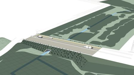 A CGI image showing how traffic would cross the Sizewell Marches SSSI on a causeway Picture: EDF ENE