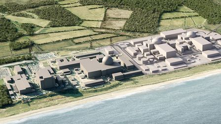 A computer-generated image of how the Sizewell complex will look after construction of Sizewell C Pi