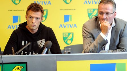 Lambert and Pilkington at the latter's Norwich unveiling; Photo: Bill Smith