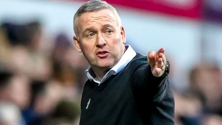 Town manager Paul Lambert animated on the touchline. Knows the importance of this weekend's FA Cup t
