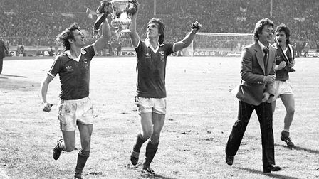 Highest FA Cup point: Roger Osborne, left, and Paul Mariner celebrate Town's FA Cup win in 1978, dan