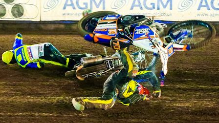 Sadly, speedway accidents are never far away. Fortunately most riders just walk away from them, as K