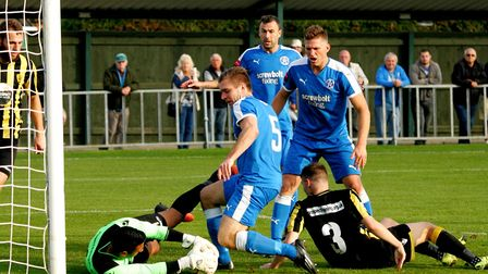Leiston's Joe Jefford in the thick of the action and having now made 400 appearances for the Blues.