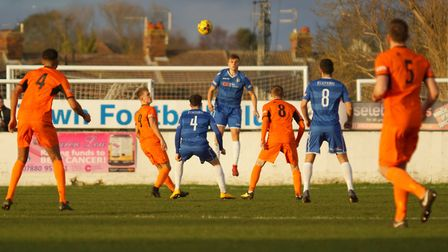 Lowestoft Town's Luca Vega heads the ball during their home defeat to Leiston on New Year's Day. The