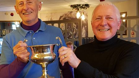 Roger Davies (left) and Trevor Samways of Stoke by Nayland with the John Whiting Trophy which they w