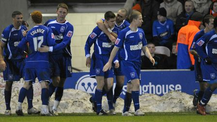 Owen Garvan congratulated by Damien Delaney after scoring the winner in the Blues' last FA Cup win a