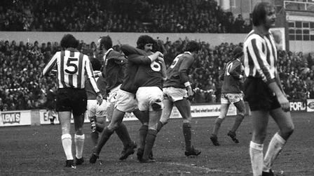 Kevin Beattie scored twice as the Blues beat Sheffield United 3-2 in the third round of the FA Cup i