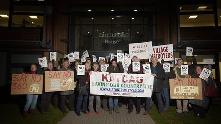 Protestors from KATCAG (Kirton and Trimley Community Action Group) gathered outside East Suffolk Ho