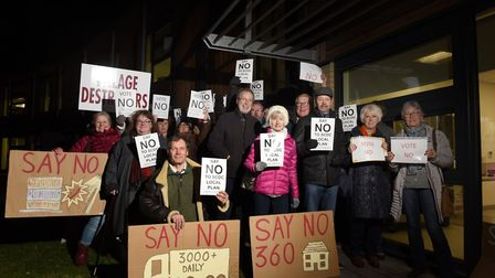 Protestors from KATCAG (Kirton and Trimley Community Action Group) protesting against Suffolk Coast