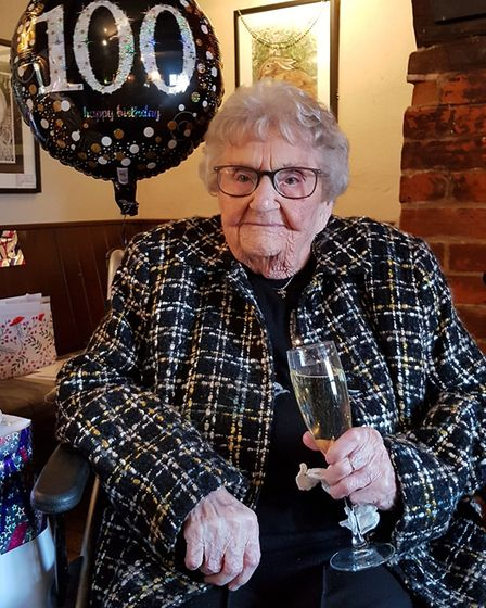 Kath Cook celebrated her 100th birthday with her family on Thursday. Picture: RACHEL EDGE