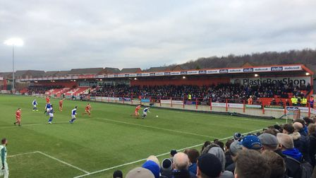 Town fans react to today's game at Accrington Stanley Picture: MARK TDLOHLESSAH