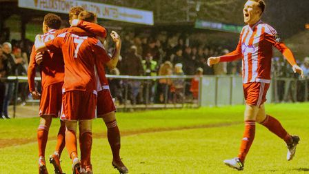 CELEBRATIONS! Rhys Henry celebrates his goal in front of a big crowd at the Goldstar Ground Photo; S