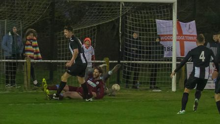 Mark Ray taps home after good work from Ryan Keeble to make it 2-0 to Woodbridge Photo; PAUL LEECH