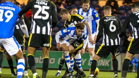 Courtney Senior is fouled by Jonathan Stead in the area, with the U's awarded a penalty, from which