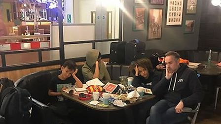The family, who spent around 11 hours at Jamie's Italian restaurant, Gatwick Airpor, waiting for the